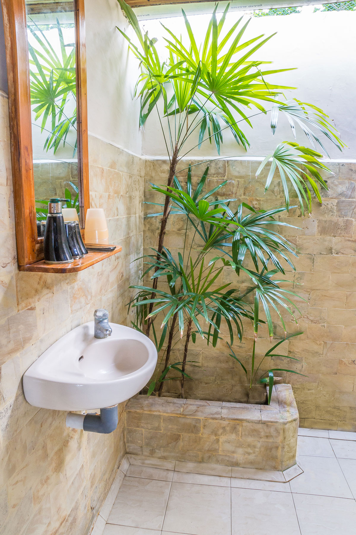 Sea Front Bungalow Bathroom, Seabreeze Resort, Bunaken Island, Manado, Indonesia