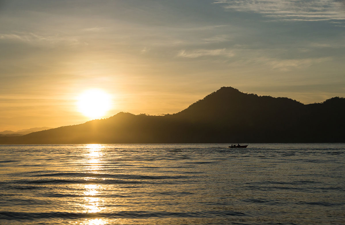 Sunrise at Bunaken Divers Restaurant, Bunaken Island, Manado, Indonesia